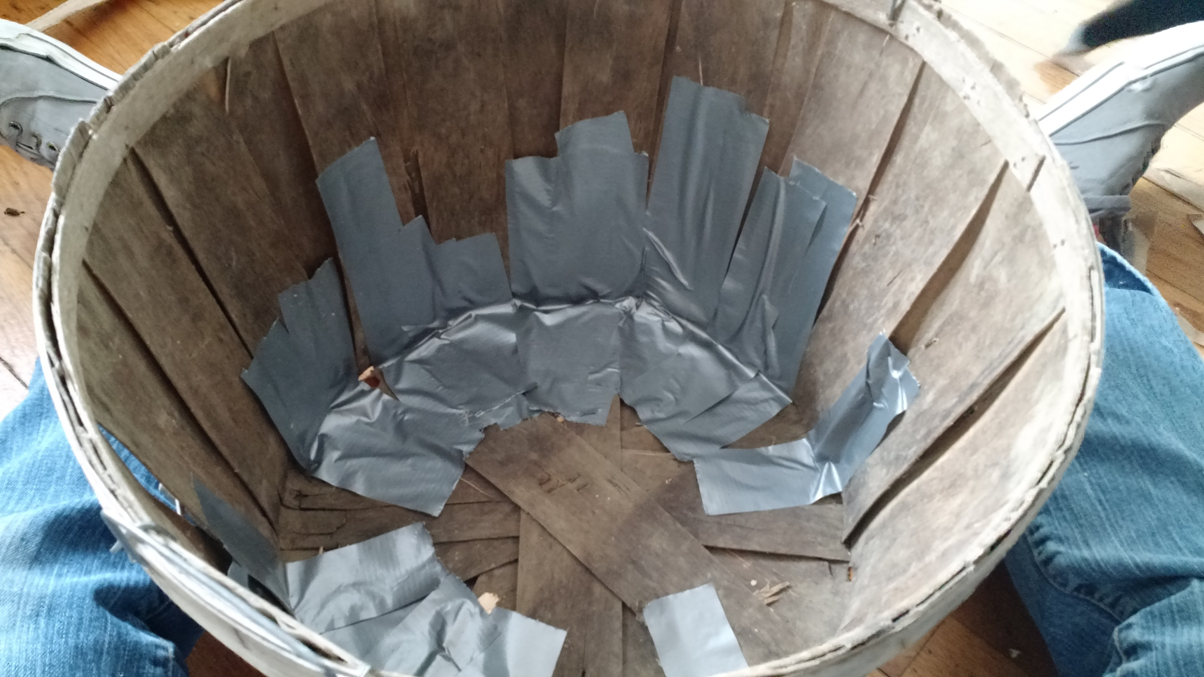 Duct tape work on inside bottom of basket